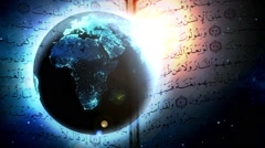 World and Quran Stock Footage