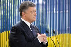 Press conference of the President of Ukraine Petro Poroshenko - stock photo