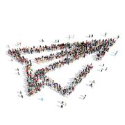 Stock Illustration of people in the shape of paper airplane