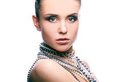 Portrait with pearls Stock Photos