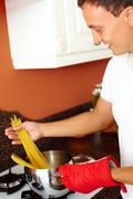 Cooking macaroni - stock photo