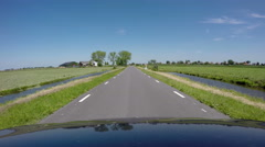Typical Dutch landscape, driving shot Stock Footage