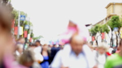 Crowd of people on the streets at the city Day Stock Footage