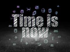 Time concept: Time is Now in grunge dark room Stock Illustration