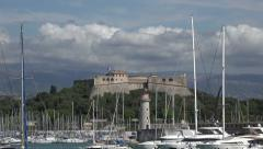 Zoom out, Fort Carre in Port Vauban, Antibes, South of France Stock Footage