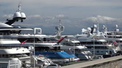 Close up of Luxury yachts in Antibes, South of France Stock Footage
