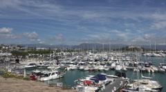 Pan of Port Vauban, Antibes, South of France Stock Footage