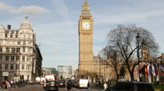 Typical view on Big Ben and Westminster in London Stock Footage