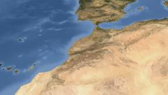 Morocco on maps - Do It Yourself as you like. Neighbourhood Stock Footage