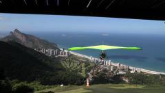 Take off hang gliding in Rio de Janeiro Brasil Stock Footage