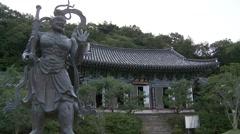 Buddhist temple and statue, Gwangju Stock Footage