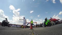 Motorsports, drag race motorbike challenge Stock Footage