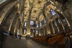 Santa Maria del Mar church interior, Barcelone, Spain - stock photo