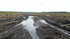 Spring road with puddles in a meadow near the forest in Russia in 2015 Stock Footage
