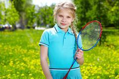 Girl with racquet Stock Photos