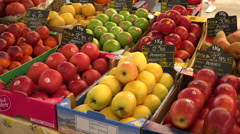 Apples, fruit for sale in local market, Antibes, France Stock Footage