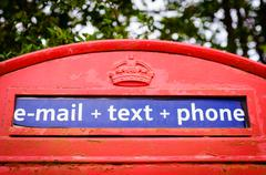 Stock Photo of Iconic British red telephone box with filter effect applied