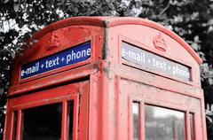 Iconic British red telephone box with filter effect applied - stock photo