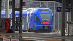 Train departure at Mestre platform toward Santa Delucia station Venice Italy - stock footage