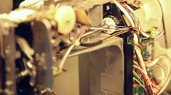 Sewing machine inside rack focus Stock Footage