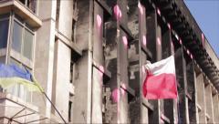 Kiev. Revolution. Ukraine and Poland flags. Stock Footage