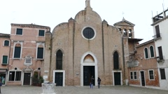 Venetian architecture. Ancient church in Venice. - stock footage