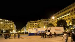 Central square of Thessaloniki, Gre Stock Footage