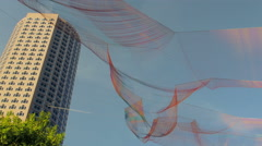 Aerial Sculpture over the Rose Kennedy Greenway Stock Footage