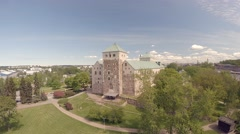Turku Castle , aerial view 4K, Skandinavia Finland Stock Footage