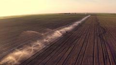 Field irrigation. Aerial footage. - stock footage