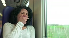 Woman take rest sleeping on train trip during movement. 4k uhd stock footage Stock Footage