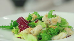 Presentation of delicious Caesar salad. Rotation, close-up Stock Footage