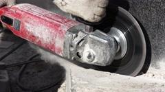 Mason grinder granite sawing. 4K. Stock Footage