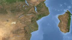 Mozambique on maps - Do It Yourself as you like. Neighbourhood - stock footage