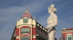 Fountain and statue at Place Massena, Nice, France Stock Footage