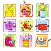 Meal and ware doodle set - stock illustration