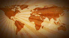 Global Missions- World Map Flat (Brown) Stock Footage