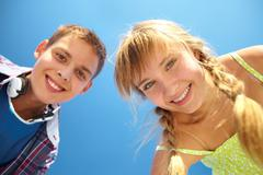 Toothy smiles - stock photo