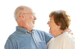 Affectionate Happy Senior Couple Laughing Together Isolated on White. - stock photo