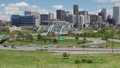 Interstate Highway Zoom Out to Denver Skyline - stock footage