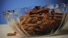 Walnuts in a glass Bowl Stock Footage