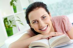 Happy reader - stock photo