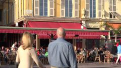 Outdoor restaurant at Cours Salaya, Old Town, Nice, France Stock Footage