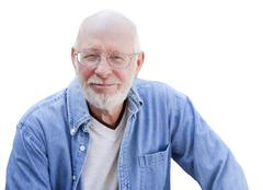 A Handsome Happy Senior Man Portrait Isolated on a White Background. - stock photo