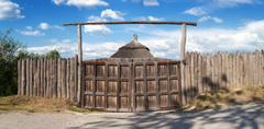 Old wooden gates. wood texture. Background for design - stock photo