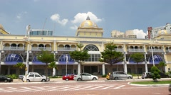 New covered market Kompleks Tun Sambanthan, facade sunny view Stock Footage