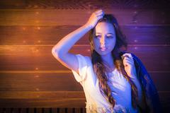 Mixed Race Young Adult Woman Portrait Against Wooden Wall Stock Photos