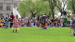 Kids Pow Wow dancers - stock footage