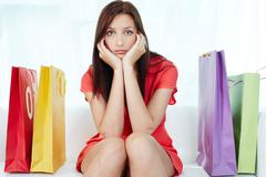Stressful shopping - stock photo