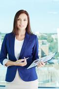 Woman with document Stock Photos